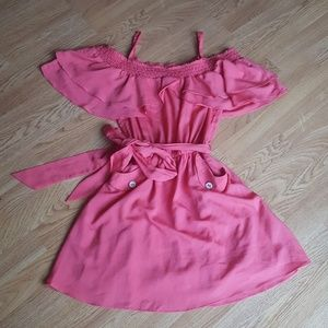 Coral flirty off the shoulder dress with pockets